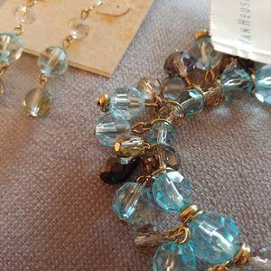 Blue Beaded Crystal Stretch Bracelet & Earrings